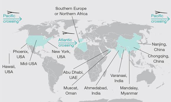 Flight plan of Solar Impulse 2's intended around-the-world journey