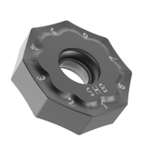 The octagonal, double-sided insert has 16 effective cutting edges, offering the lowest tooling cost per part in the industry