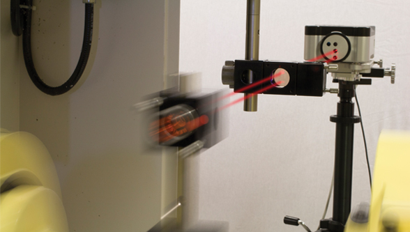Laser calibration at the speed of light