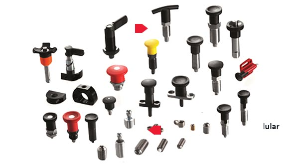 Elesa+Ganter range of Mini indexing plungers made of steel or stainless steel for thin-walled sheet metal