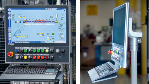 "A customized 21.5"" CP3921-1009 multi-touch Control Panel serves as the front end of the Welex® sheet extrusion line. Picture credits/Copyright: Graham Engineering, USA"